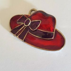 Red Hat Purple Bow Necklace Pendant
